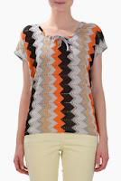 Bluza gri cu orange din jerse si tricot