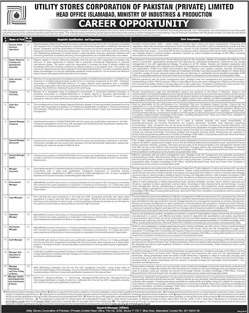 Federal Govt jobs in Utility Stores Corporation of Pakistan Jobs USC 2016