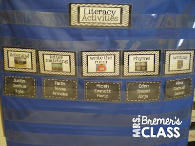 Literacy center activity stations rotation chart