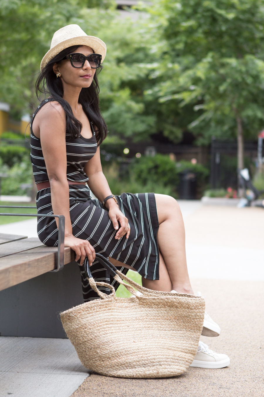 stripes, summer style, sleeveless dress, tank dress, sneakers, platform, casual outfit, petite fashion, uniqlo, h&m, straw tote, mommy style, comfortable outfit, boston playground