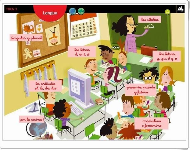 """""""Actividades interactivas de Lengua de 1º de Primaria"""" (Editorial La Galera. Proyecto Tren 1)"""