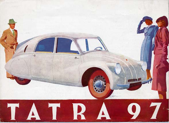 like the volkswagen, the tatra t97 was powered by a flat four boxer engine,  but that was pretty much where the two car's similarity ended