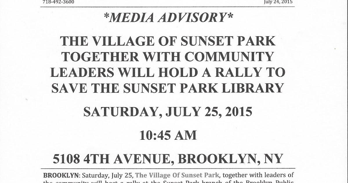 Citizens Defending Libraries *MEDIA ADVISORY* THE VILLAGE OF SUNSET