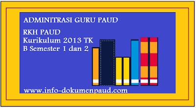 ADMINITRASI GURU PAUD RKH PAUD Kurikulum 2013 TK B Semester 1 dan 2