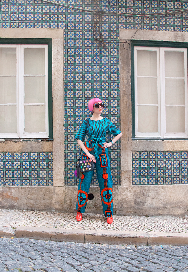 Sara is in Love with… African Wax print fashion Ankara pink haired Tufafii Hanimanns Gucci rainbow jumpsuit Poppy Lissiman Melissa shoes Lisbon Portugal Tiles ootd