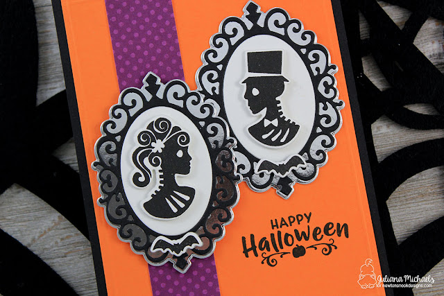 Detail Photo of Happy Halloween Card by Juliana Michaels featuring Creepy Cameos Stamp Set and Cameo Frame Die by Newton's Nook Designs