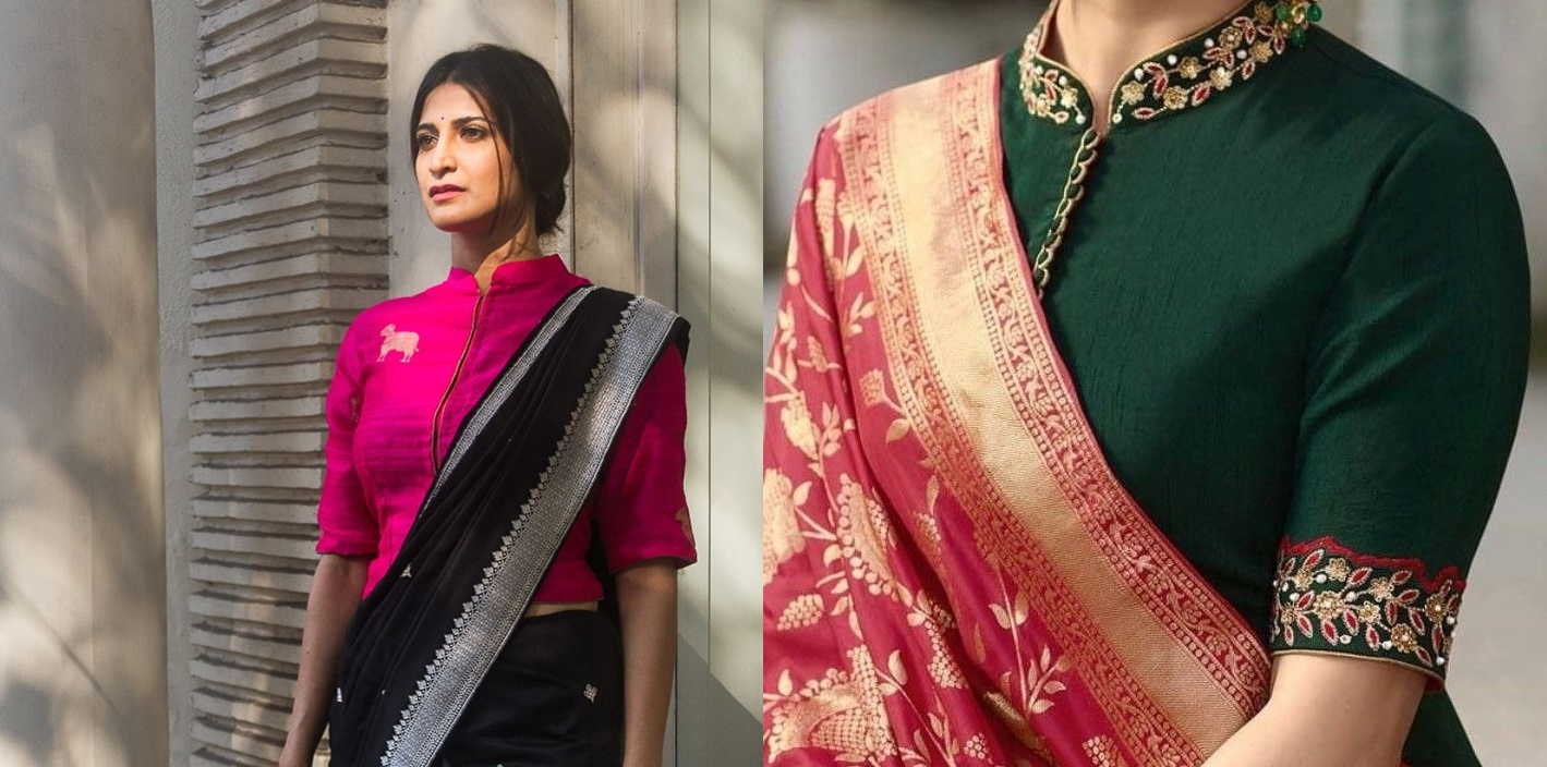 Stand Collar Neck Designs For Blouse : Stylish high neck blouse designs for pattu sarees bling sparkle