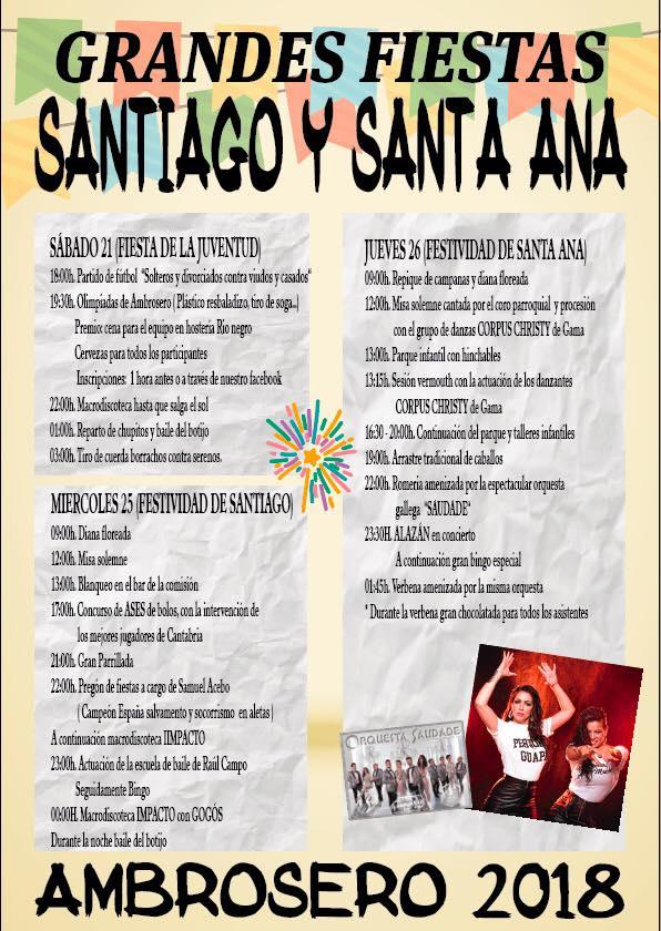 Grandes fiestas de Santiago y Santa Ana en Ambrosero 2018