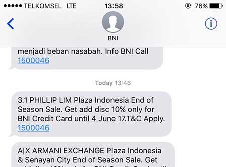 Cara Stop SMS Promosi Dari BNI