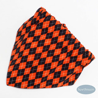 Halloween Argyle Dog Bandana, orange and black