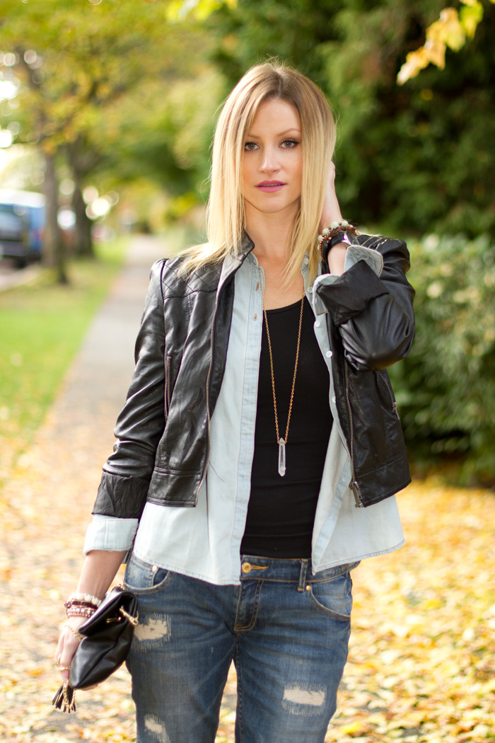 Vancouver Fashion Blogger, Alison Hutchinson, wearing Forever 21 vegan leather jacket, American Apparel dress worn as top, Urban Outfitters chambray denim top, Zara boyfriend jeans, H&M black leather bag, Zara burgundy heels, True Worth Design Bracelets, Kenneth Cole watch