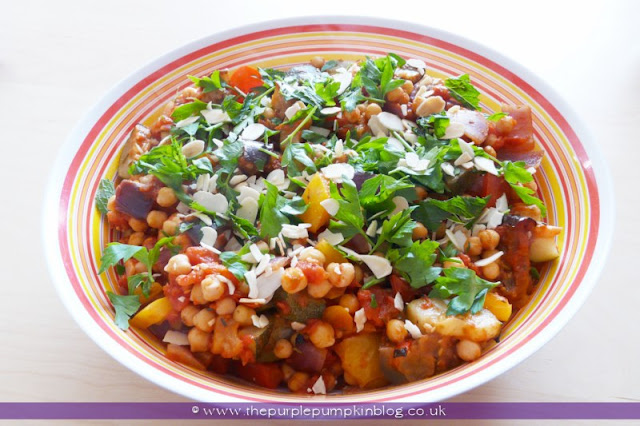 Moroccan Vegetable & Chickpea Tagine at The Purple Pumpkin Blog
