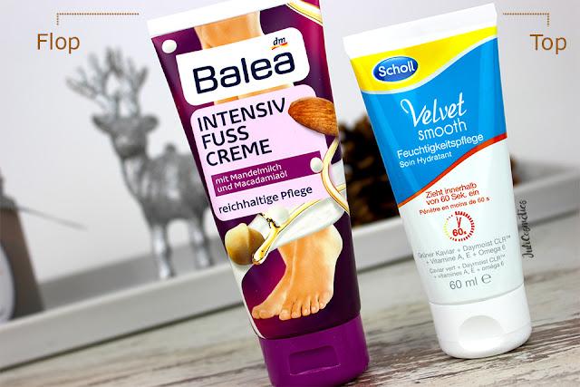 Scholl-Velvet-Smooth-Feuchtigkeitspflege-vs-Balea-Intensiv-Fuss-Creme