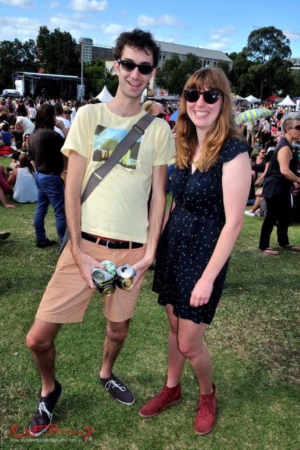 Newtown Festival, Fujifilm X-Pro1, couple, empty tinnies, shorts, tee, print dress.