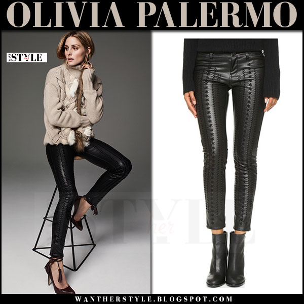 Olivia Palermo in black embroidered leather skinny pants blank nyc and beige knit turtleneck sweater belstaff what she wore winter style