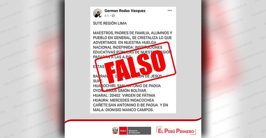 COMUNICADO MINEDU: Advierten sobre falsa información en redes sociales - www.minedu.gob.pe