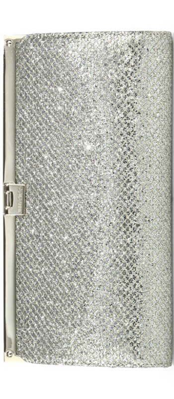 Jimmy Choo Camille Glittered-Fabric Clutch chamapagne
