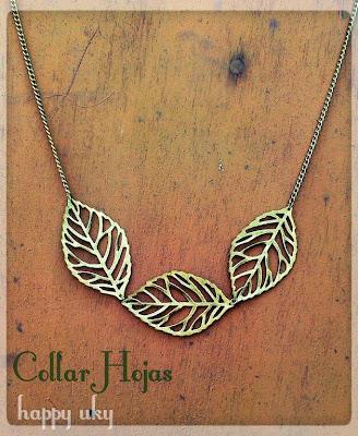 happy uky  complementos, collares handmade barcelona hojas