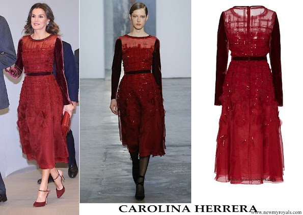 Queen Letizia wore Carolina Herrera burgundy embroidered silk organza midi dress