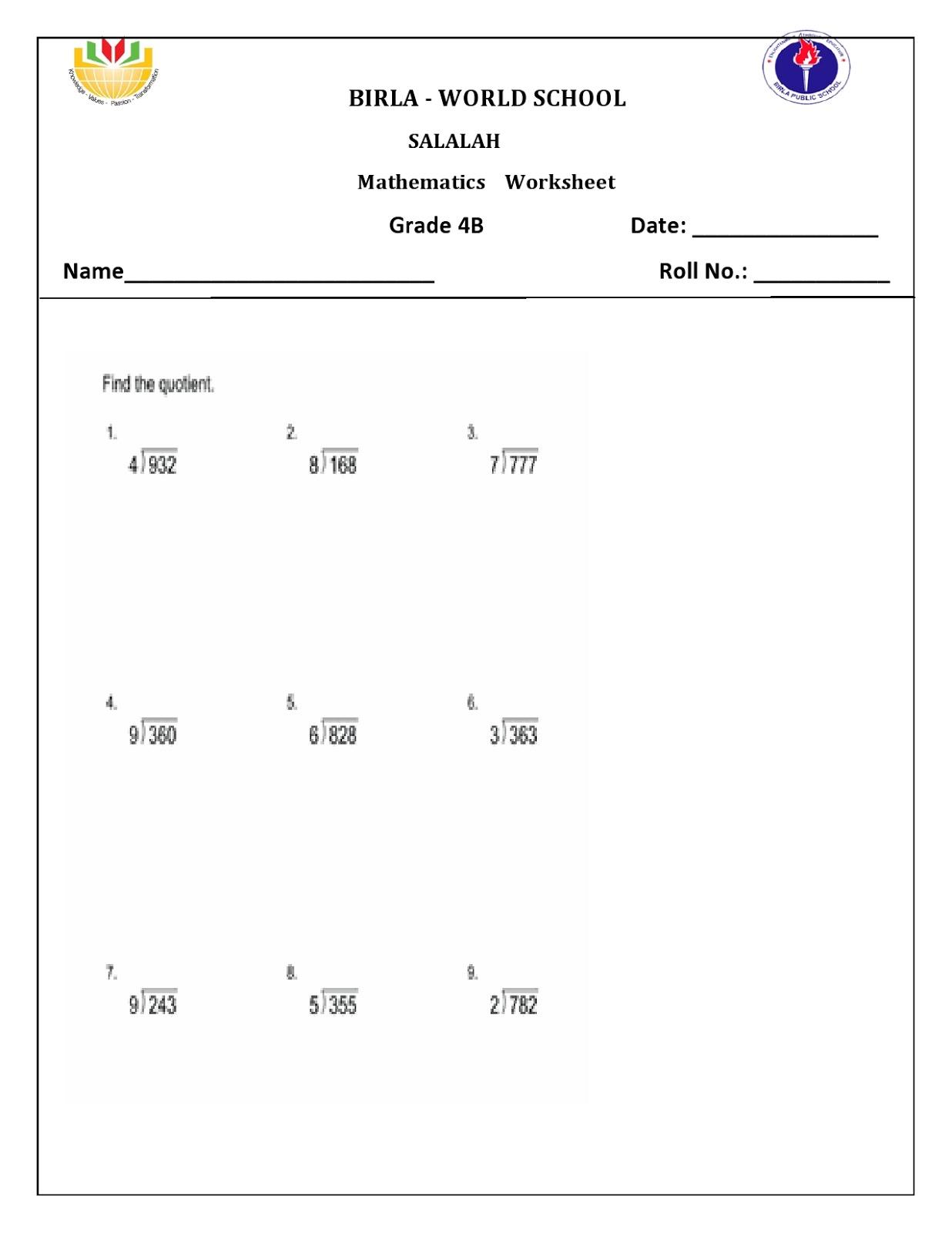 Birla World School Oman Homework For Grade 4 B On 20 10 16