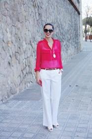 conjunto en blanco rojo white red outfit