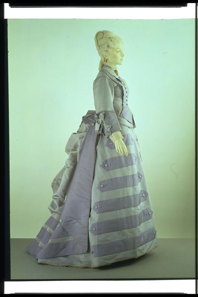 Historically Accurate british UK Victorian Afternoon Dress from the 1870s, stored in a museum