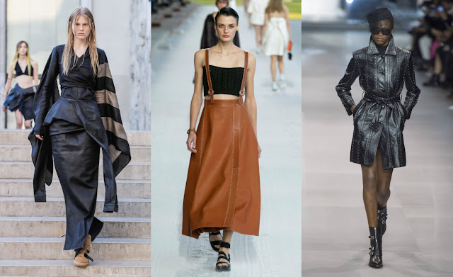 sleek leather fashion trend Rick Owens, Hermes, Celine