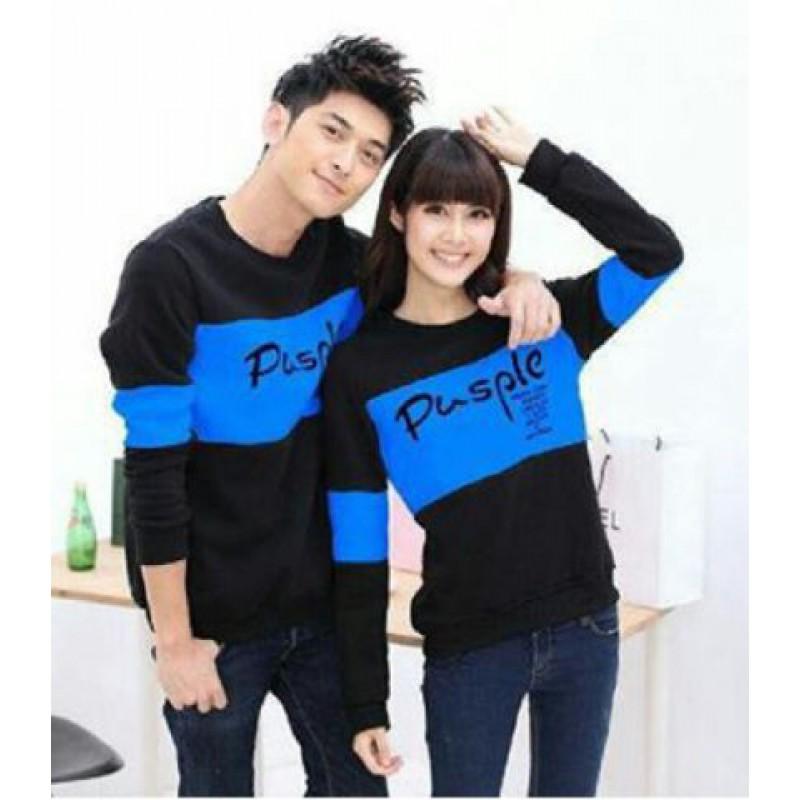 Jual Online Sweater Pusple Neo Black Turquise Couple Murah Jakarta Bahan Babytery Terbaru