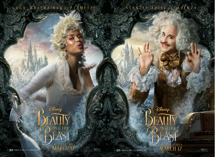 "Gugu Mbatha-Raw and Stanley Tucci in ""Beauty and the Beast"""