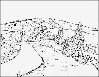 Sketsa Mewarnai Gambar Pemandangan Alam Pegunungan 20164