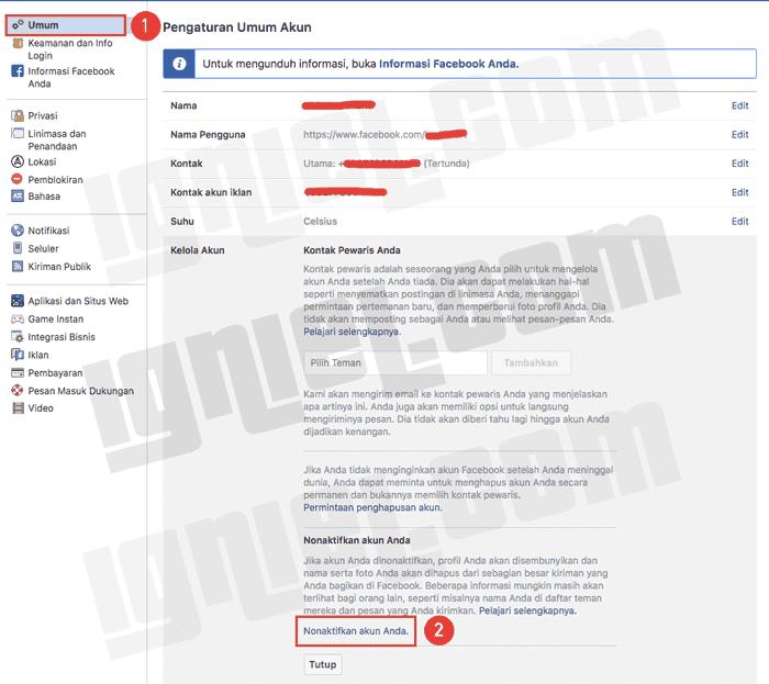 Cara Tutup Akun Facebook Sementara Lewat HP