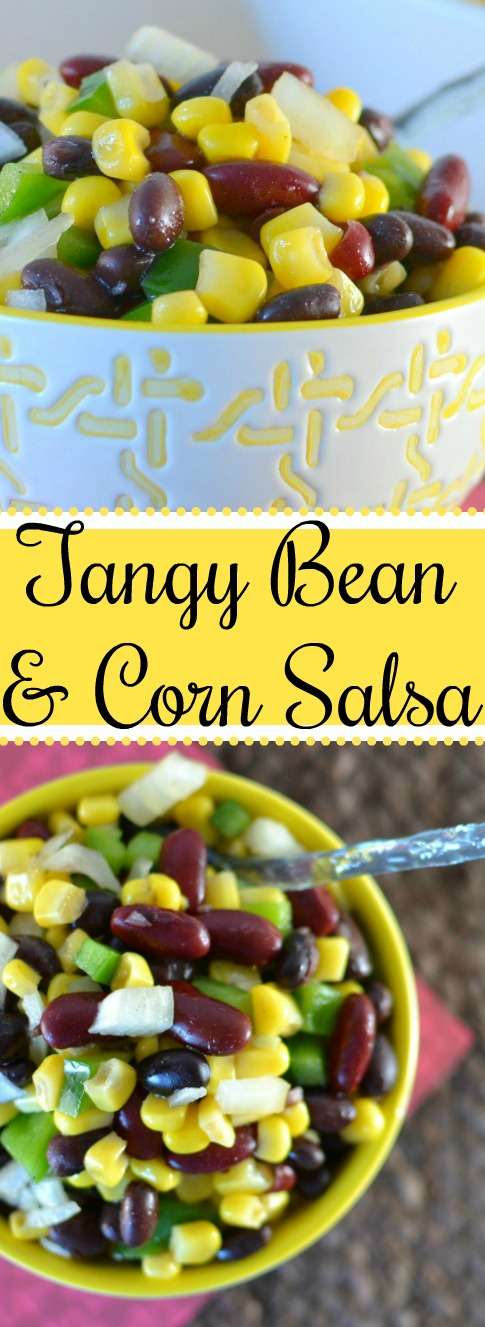 Tangy Bean and Corn Salsa Recipe from Hot Eats and Cool Reads! This delicious fall and winter salsa is great with chips, tacos, quesadillas, fish and so much more!