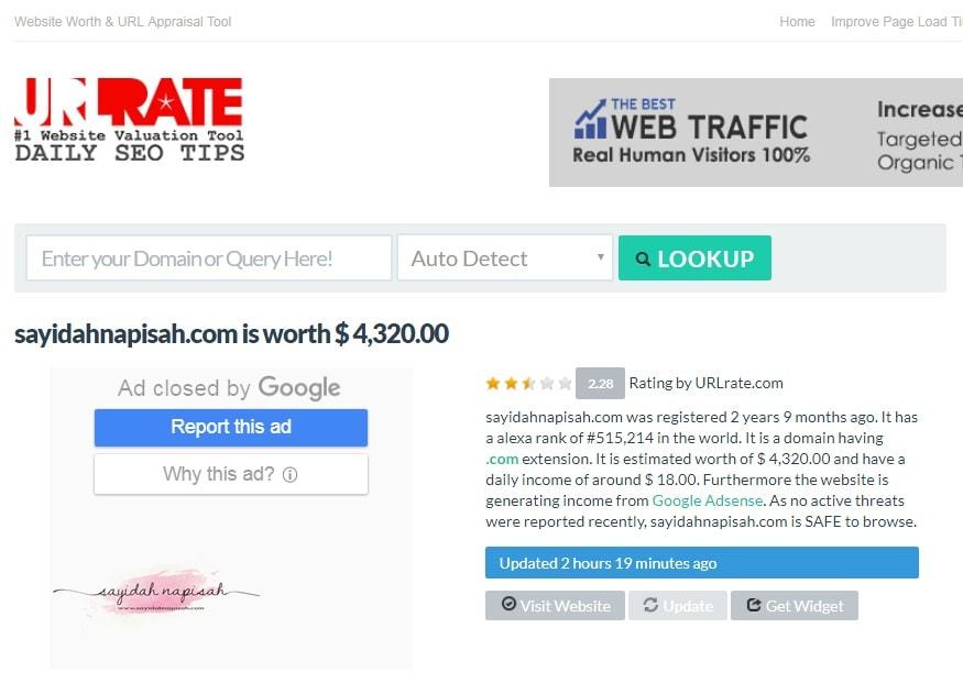 berapakah harga website atau nilai domain anda? jom check!