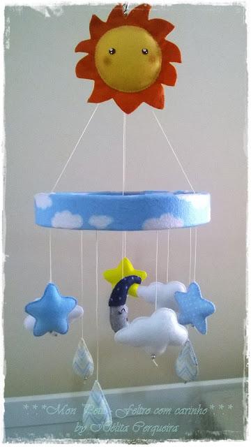 móbile-berço-em feltro-sol-estrela-céu-artesanato em feltro
