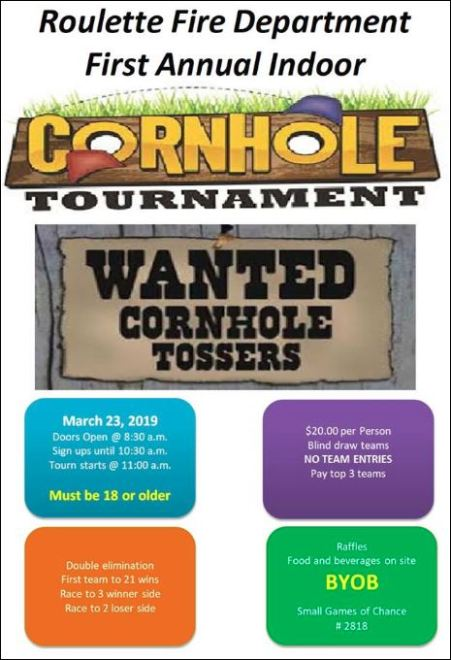 3-23 Cornhole Tournament, Roulette VFD
