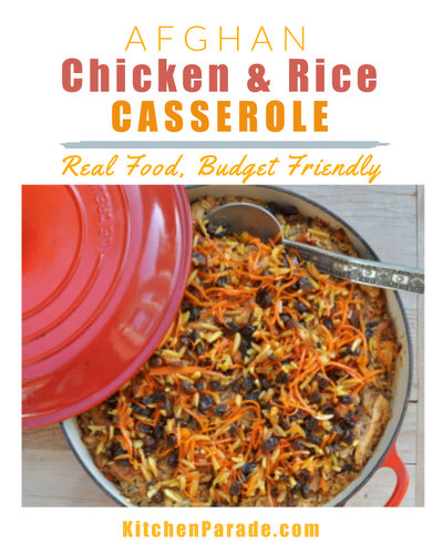 Afghan Chicken & Rice Casserole ♥ KitchenParade.com, rotisserie chicken, caramelized onions, roasted peppers, great for feeding a crowd. Budget Friendly. Weight Watchers Friendly. Gluten Free. High Protein.