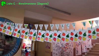 Banderines de San Patricio de la teacher Lidia C. del CEIP Miguel de Cervantes de Navelmanzano (Segovia)