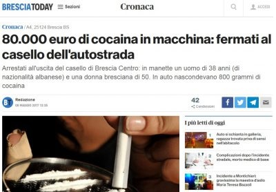 Albanian and his Italian girlfriend detained after being caught with € 80,000 worth of cocaine