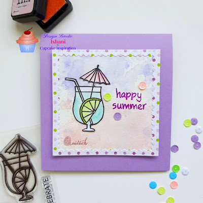 Jane's Doodles Cheers stamp, water colouring, CIC, Quillish, mocktail card, cocktail card, pastel colors card, summer card, cards by ishani