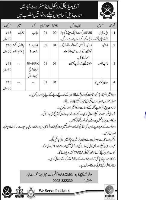 AbbottAbad, GOVT JOBS, pak army, lower division clerk jobs, naib qasid, pak army jobs in abbottabad, KPK,