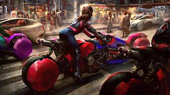 Cyberpunk, Biker, Girl, Digital Art, Motorcycle, Sci-Fi, 4K, #4.2030
