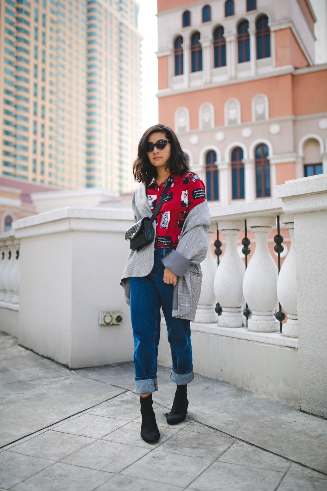 macau fashion blogger wearing plaid and retro print