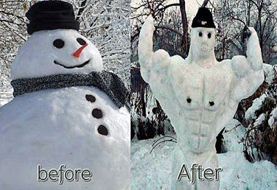 Lustige Winterbilder - Schneemann vorher nachher Foto