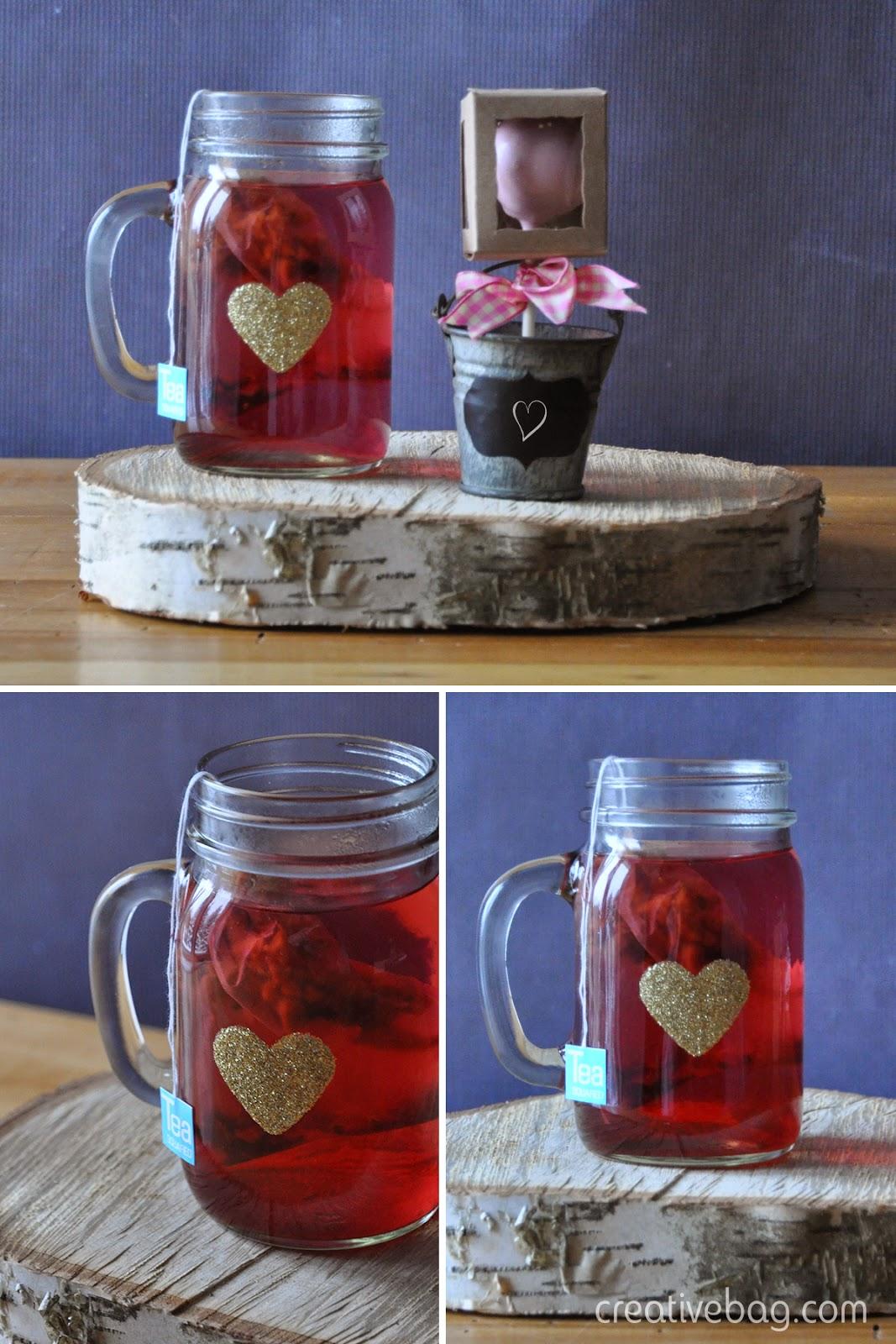 diy for valentine's day - add glitter hearts to mason jar mugs ... dishwasher safe after 28 days | Creative Bag