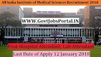 All India Institute of Medical Sciences Recruitment 2018 – 190 Hospital Attendant, Lab Attendant