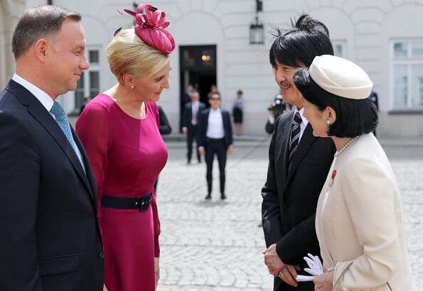 Predsident of Poland, Andrzej Duda and his wife, Agata Duda welcomed Crown Prince Fumihito and his wife Crown Princess Kiko