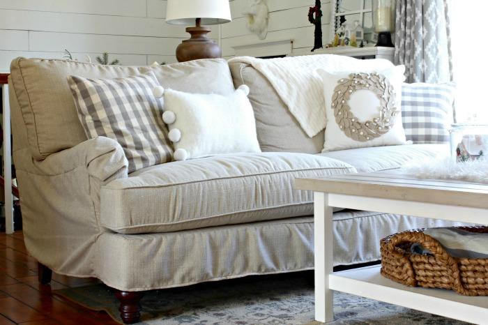 Birch Lane Montgomery Sofa with Joss and Main wreath pillow - www.goldenboysandme.com