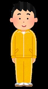 ジャージを着た男性のイラスト(黄)
