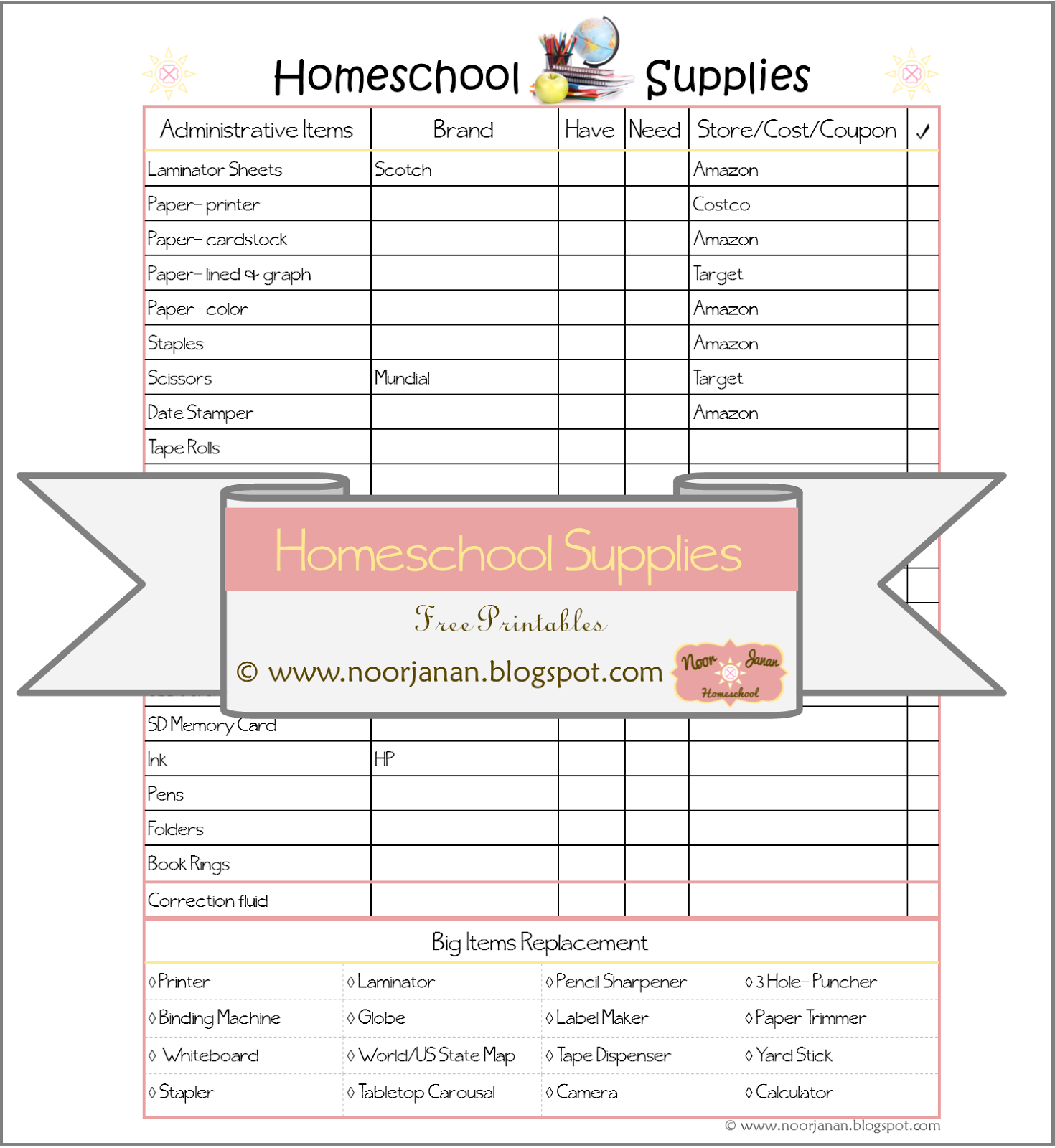 Noor Janan Homeschool Homeschool Supplies