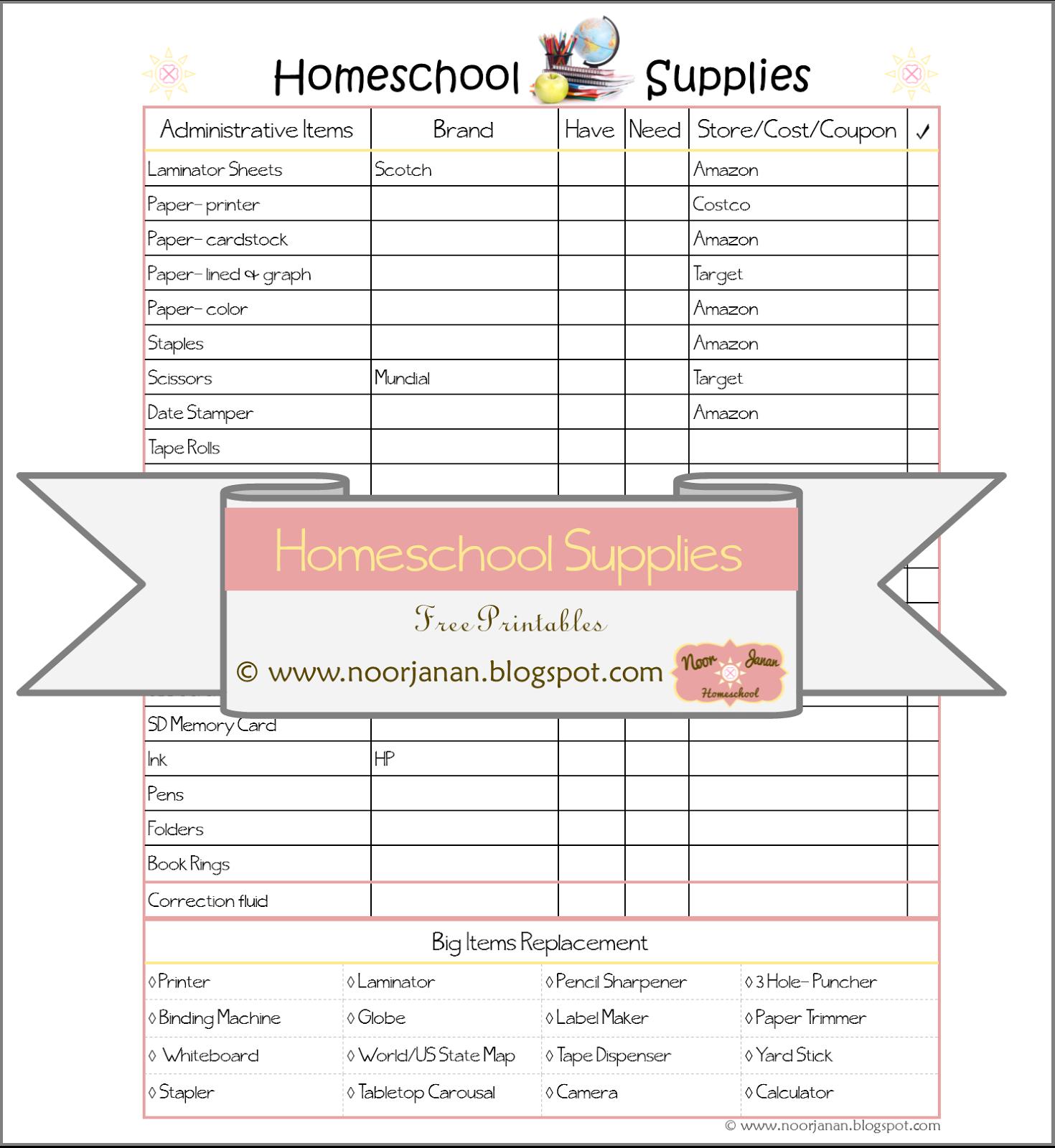 Noor Janan Homeschool Homeschool Supplies
